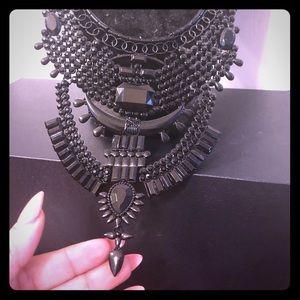 Victorian all black statement necklace